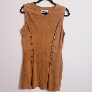 Moschino Leather Suede Brown Buttoned Dres…